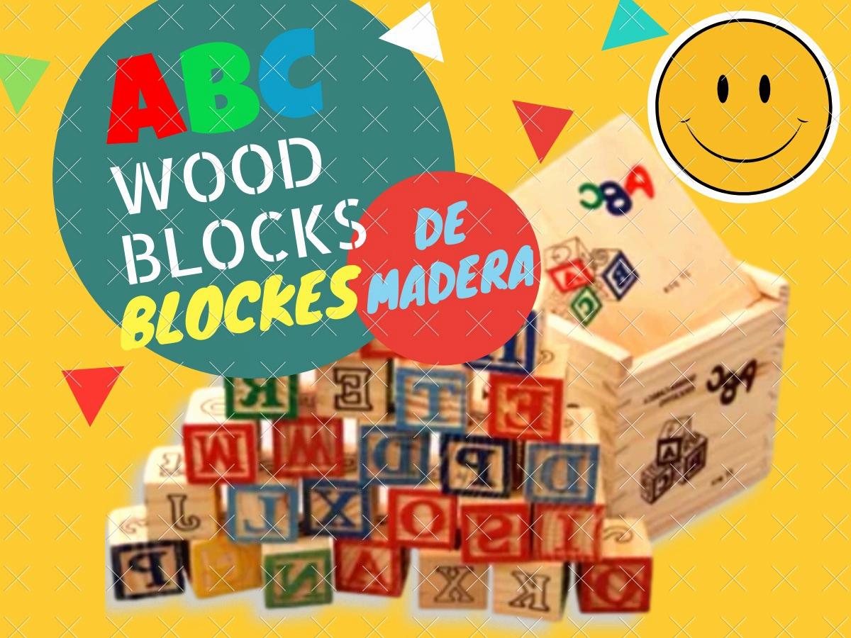 abc wood blocks piezas coloridas