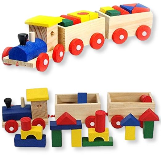 tren de madera piezas de color